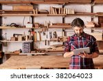 artisan woodwork studio with... | Shutterstock . vector #382064023