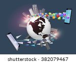globalization. global business... | Shutterstock .eps vector #382079467