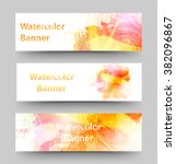 set of watercolor banners.... | Shutterstock .eps vector #382096867