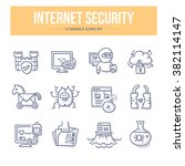 doodle line icons of internet... | Shutterstock .eps vector #382114147