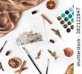watercolor painting   Shutterstock . vector #382122847