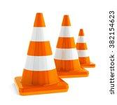 orange traffic cones on a white ...   Shutterstock . vector #382154623
