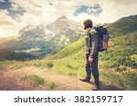 traveler man with backpack... | Shutterstock . vector #382159717