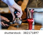 close up hands waitress make... | Shutterstock . vector #382171897