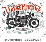 vintage motorcycle. hand drawn... | Shutterstock .eps vector #382234237