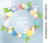easter pastel eggs wreath with... | Shutterstock .eps vector #382241623
