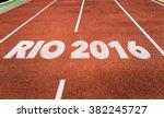 rio 2016 written on running... | Shutterstock . vector #382245727