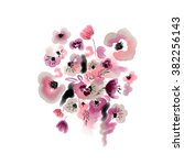 watercolor floral painting | Shutterstock . vector #382256143