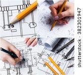 construction plans collage | Shutterstock . vector #382301947