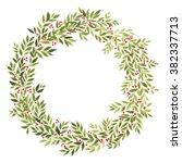 vector wreath with red berries...   Shutterstock .eps vector #382337713