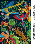 leopards and parrots in the... | Shutterstock .eps vector #382350433