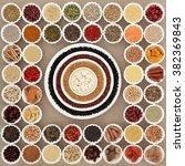 Small photo of Large dried super food sampler in porcelain bowls forming an abstract background over hessian. Highly nutritious in antioxidants, minerals, vitams and dietary fibre.