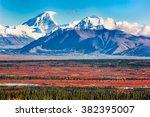 two high peaks of the alaska... | Shutterstock . vector #382395007