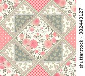 seamless floral patchwork... | Shutterstock .eps vector #382443127