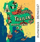 illustrated map of thailand | Shutterstock .eps vector #382463167