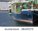 cargo ship at dock waiting to... | Shutterstock . vector #38249275