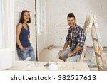 happy couple renovating house ...   Shutterstock . vector #382527613