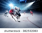 hockey players shoots the puck... | Shutterstock . vector #382532083