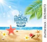 the best summer on the beach... | Shutterstock .eps vector #382548073