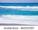 sea wave on matala beach. crete ... | Shutterstock . vector #382551907