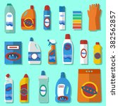 group of bottles of household... | Shutterstock .eps vector #382562857