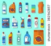 group of bottles of household... | Shutterstock .eps vector #382562857