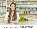 young female pharmacist at cash ...   Shutterstock . vector #382567903