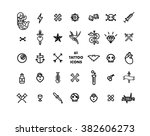 61 tattoo set minimal vector... | Shutterstock .eps vector #382606273
