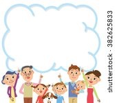 three generation family and... | Shutterstock .eps vector #382625833