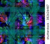 dark palm leaves checkered... | Shutterstock . vector #382626487
