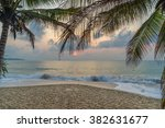 Stock photo a sunset at the beach 382631677