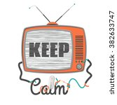 keep calm   old tv with glitch... | Shutterstock .eps vector #382633747