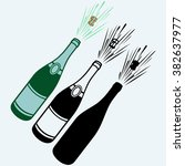 close up of champagne explosion....   Shutterstock .eps vector #382637977