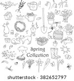 spring doodles set. hand drawn... | Shutterstock .eps vector #382652797
