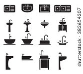sink icon set | Shutterstock .eps vector #382654207
