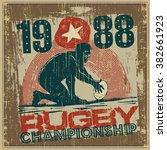 "retro design poster ""rugby"".... | Shutterstock .eps vector #382661923"