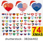 Set Of Heart Flags With A...