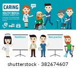 caring  for patient. flat... | Shutterstock .eps vector #382674607