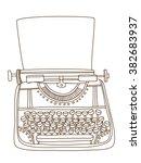 vintage typewriter. hand drawn...