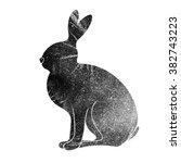 grunge textured hare. | Shutterstock . vector #382743223