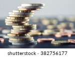 euro coins stacked on each... | Shutterstock . vector #382756177