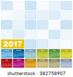 colorful calendar for year 2017 ... | Shutterstock .eps vector #382758907