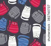 cute cats colorful seamless... | Shutterstock .eps vector #382760737