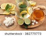 mint tea with honey and lemon | Shutterstock . vector #382775773