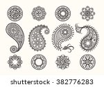 henna tatoo paisley icons set.... | Shutterstock .eps vector #382776283