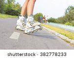 Close Up Of Girl Rollerblading...
