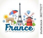 travel france header card   Shutterstock .eps vector #382779277