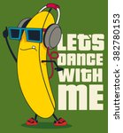 Dance And Cartoon Banana Vecto...