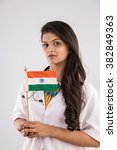 female doctor with indian flag... | Shutterstock . vector #382849363