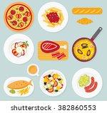 european cuisine. food set.... | Shutterstock .eps vector #382860553